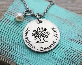 Family Tree with Names, Mom Necklace
