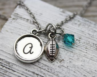 Personalized Football Initial Charm Necklace