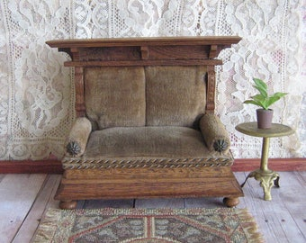 "RESERVED-Antique Dollhouse German Golden Oak Sofa with Olive Green Velvet Upholserty-Early 1900s-Large 1"" Scale"