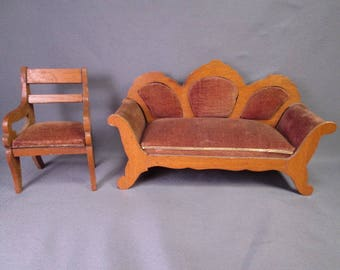 "Antique Dollhouse Furniture - Schneegas Golden Oak Settee and Chair - 1"" Scale"