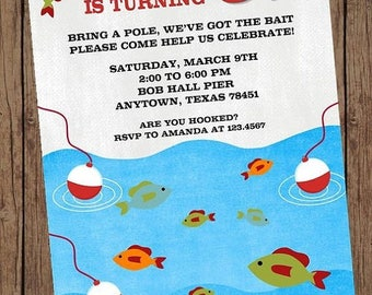 SALE Gone Fishing Birthday Invitations - 1.00 each with envelope