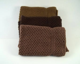 Dishcloths Knit in Cotton in Mission Oak, Acorn and Brown, Knit Wash Cloths, Cotton Washcloth, Cotton Dishcloth