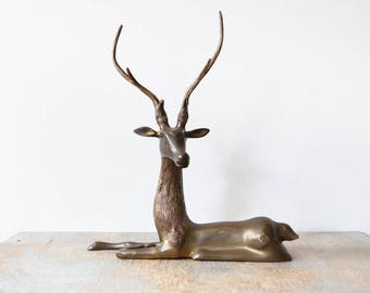 brass deer, large deer sculpture, vintage brass deer figurine