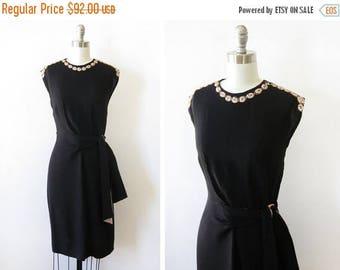 20% OFF SALE 40s black dress, vintage 1940s crepe dress, 40s cocktail dress, small