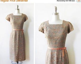 20% OFF SALE 60s lace dress, vintage floral lace dress, large 1960s cocktail dress