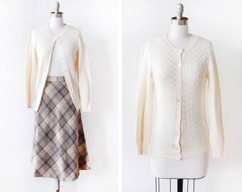 cream knit cardigan, vintage 80s pointelle sweater, 1980s white cardigan, eyelet cardigan sweater, extra small xs