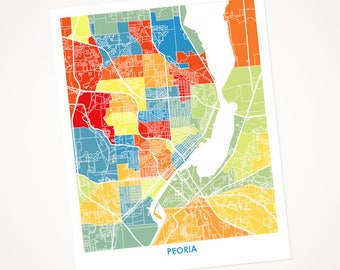 Peoria Map Print.  Choose your colors and size.  Illinois Artwork.  IL Wall Art.