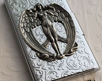 Victorian Angel Card Case Silver Plated Business Card Case Silver Winged Angel Card Case Card Holder Floral Card Case Card Wallet