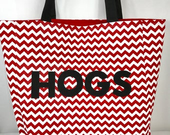 Hogs tote bag, Large Tote Bag, hogs purse, large purse, chevron, carry all, red white purse, black, game day purse, market bag
