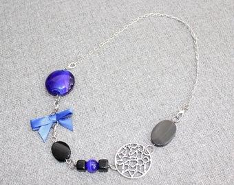 bijoux mode, collier court, bijoux fantaisie, bijou femme, funky, tissu, bleu royal, noir, boucle, chic, collier femme, collier bracelet