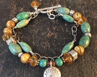 Blue Green Turquoise Bracelet, Double Strand Bracelet, Rustic Boho Bracelet, Unique One of a Kind Bracelet