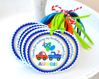 Transportation Gift Tags, Personalized Favor Tags, Transportation Birthday Party - Set of 12 Favor Tags