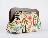 Wooden frame clutch bag - Herb garden natural - Trip purse / Japanese canvas fabric / Cotton and Steel / Rifle Paper Co / Amalfi