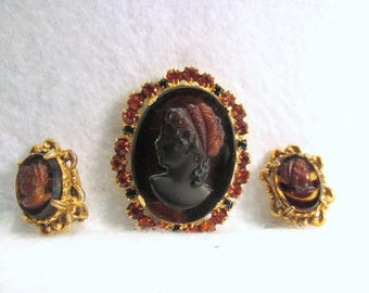 Vtg JULIANA Brown Glass Topas Rhinestones CAMEO Brooch-FLORENZA Earrings