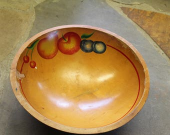 Vintage Hand painted Maple Fruit Bowl
