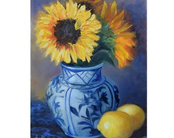 Brilliant Yellow Sunflowers And Lemons Small 9x12 Original Oil Painting On Canvas By Cheri Wollenberg