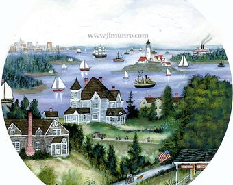 Sailors Valentine Center, ART for Designers Crafters ~ Boston Harbor ~ JL. Munro