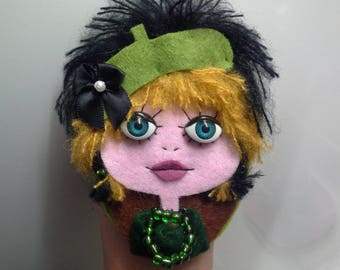 Felt Brooch Portrait Art Doll Envy Green
