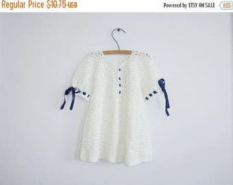 SALE // Vintage Cream and Navy Baby Dress