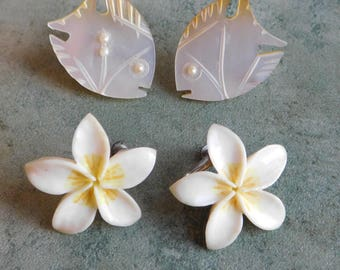 2 Pair Vintage Mid-Century Screwback Earrings - Carved and Painted Bone Flowers Made in Japan - Carved Mother-of-Pearl Fish - Retro Jewelry