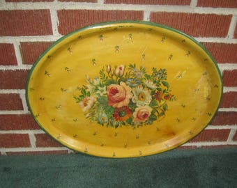Vintage Lovely Large Oval Metal Hand Painted Floral Tole Tray Signed by Artist