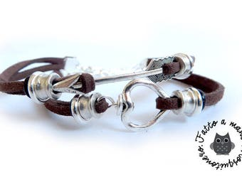 Couple bracelet, Heart & arrow, Man Bracelet, bracelet, gift couple, for him, for her,