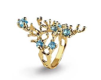 SALE 20% Off - REEF 14k Gold Blue Topaz Ring, Gold Blue Topaz Engagement Ring, Organic Gold Ring, Gold Statement Ring, Gold Gemstone Ring