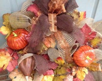 PETITE BURLAP HARVEST Fall wreath, pumpkins, gourds, Thanksgiving wreath- Perfect for dorm, apartment or nursing home door