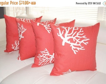 White Coral on Coral Decorative Throw Pillows - 4 Pack- Free Shipping