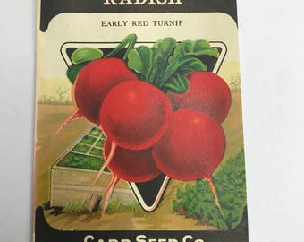 Vintage 1920s Unused Paper Seed Packet Radish