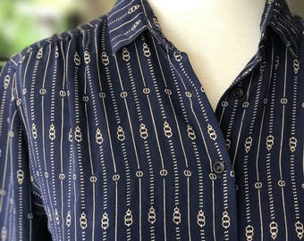 Vintage Navy Silk Cista Svila Blouse Small
