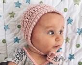 Knitting Pattern for Baby Bonnet, Baby Hat Pattern, Instant Download PDF Pattern, Knit Bonnet Pattern, Modern Baby Knit Hat Pattern SAVANNAH