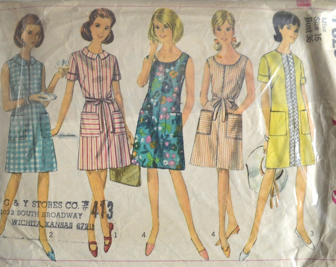 1960s Simplicity Pattern, Copyright 1967, Simplicity 7025, One Piece Dress, Summer Dress, Beach Dress, Day Dress, Preppy Dress, Bust 36""