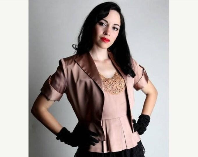sale 40s Blouse Jacket Set,  40s Jacket, Vintage Blouse, Peplum Blouse, Short Sleeved, 1940s Peplum Blouse, 1940s Blouse, Hollywood Glam,