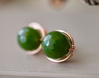 March birthstone, Dark Green, Jade, 8mm stud round earrings, wire wrapped in rose gold filled