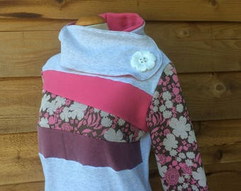 Hoodie Sweatshirt Sweater Handmade Recycled Upcycled One of a Kind GARDEN PARTY Ladies LARGE - Pastel Cute Kawaii Pockets