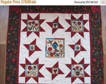 Summer Sale Quilted  throw  lap quilt wall hanging primitive  blanket wheelchair sofa quilt Quiltsy handmade