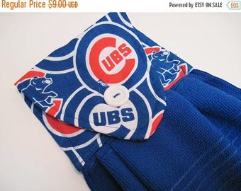 Summer Sale Chicago Cubs Hanging kitchen towel  button top   Baseball oven door blue towel Quiltsy Handmade