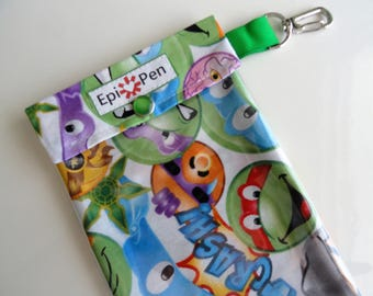 Ninja Turtles Emojis EpiPen Pouch w/ Clear Pocket and Clip 4x8 Holds 2 Allergy Injector Pens Travel Case Boy Superhero ID Card Included