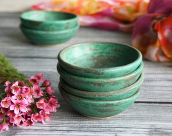 Ceramic Prep Bowls, Set of Three Copper Green Small Pottery Bowls Handmade Rustic Kitchen Bowls Ceramic Pottery Bowls Ready to Ship