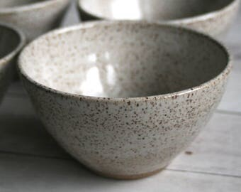 Set of Four Rustic Creamy White Speckled Ceramic Serving Bowls in Toasted Speckled Stoneware Pottery Made in the USA Ready to Ship