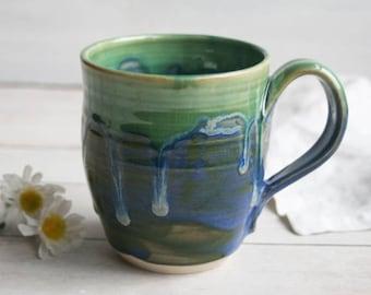 Stoneware Coffee Mug in Dripping Greens Glaze Handmade Pottery Made in USA Ready to Ship
