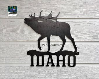 Fathers Day Metal Art Idaho Elk Rustic Garden Art Yard Art Wall Art Wildlife Gift For Him Outdoor Indoor Nature Steel Art Idaho Gallery