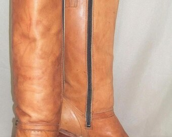 "SUMMER SALE Vintage Women's Dingo/Acme Boho Knee High Leather 16"" Tall Boots 6M Bohemian"