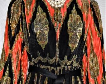 Vintage 1970's Shannon Rodgers Jerry Silverman BOHO Maxi Palazzo Jumpsuit Romper 8 Medium