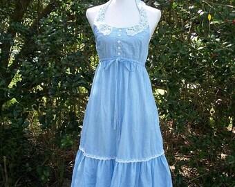 SALE 70s Gingham Ruffled Sundress size Small Halter Dress Prairie Dress