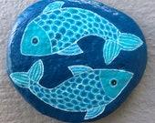 Pisces painted rock
