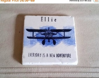 XMASINJULYSale Personalized Stone Coasters - Vintage Plane Tile Drink Holders - Mother's Day Gift - Everyday is a new adventure design