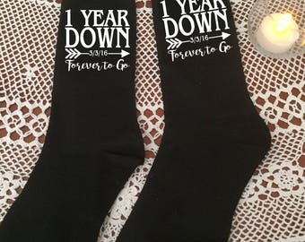 Wedding Anniversary socks, forever to go, love arrow, First Anniversary, 2nd Anniversary, 5th Anniversary, 10th Anniversary, Novelty gift
