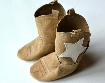 STAR Baby Cowboy Boots, Genuine Leather Baby Booties, Baby Shower Gift, Baby Booties, Baby Shoes , leather baby boots, western baby boots